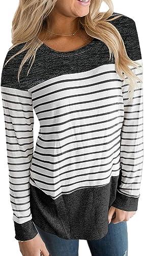 Striped summer tunic  bohemian light Henley shirt  Long Sleeve striped blouse