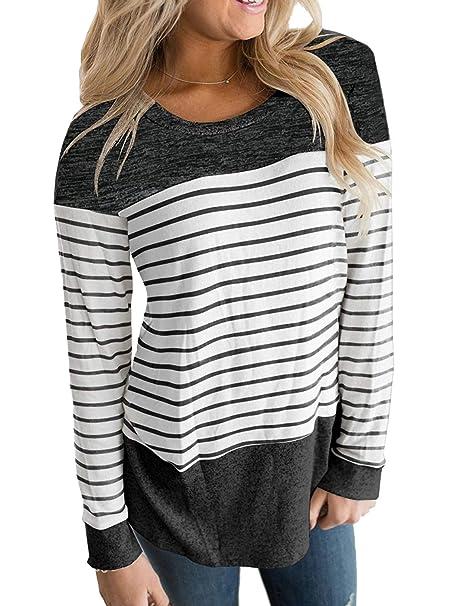 c2d20a68381 Hount Womans Scoop Neck Long Sleeve Flattering Shirt Tunic Tops Blouses ( Black