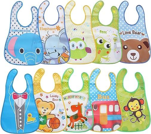 Nuevo Lote de 3 piezas diferentes colores de hecho a mano niño/'S impermeable Baberos 3#1