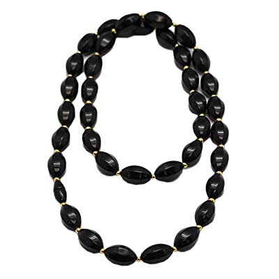 Black Faceted Oval Octagon Bead Necklace (30 Inch): Toys & Games