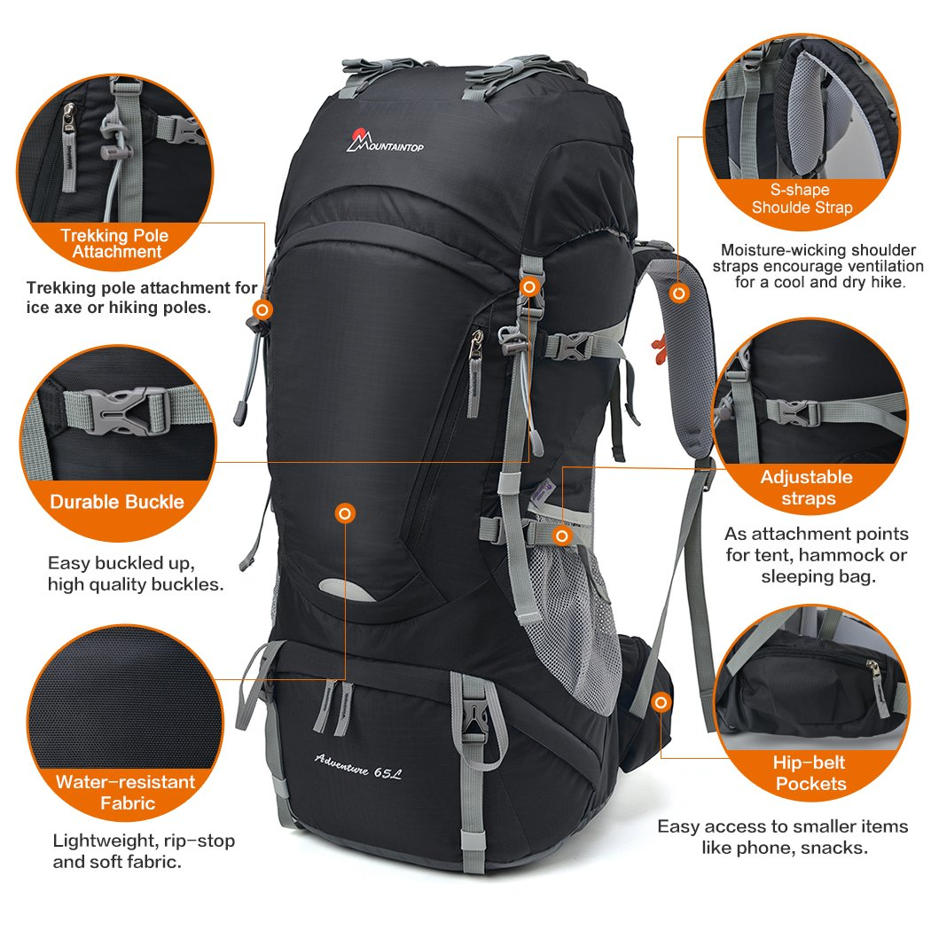 Amazon.com: Mountaintop 65L Outdoor Hiking Backpack Camping ...