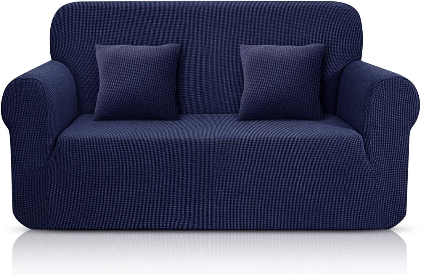 TAOCOCO Funda de Sofá/Funda de sofá Antideslizante/Funda de Fofá Elástica/Lavable/Antiácaros/Antiarrugas (Azul Oscuro/ 2 Plazas 120-190 cm)