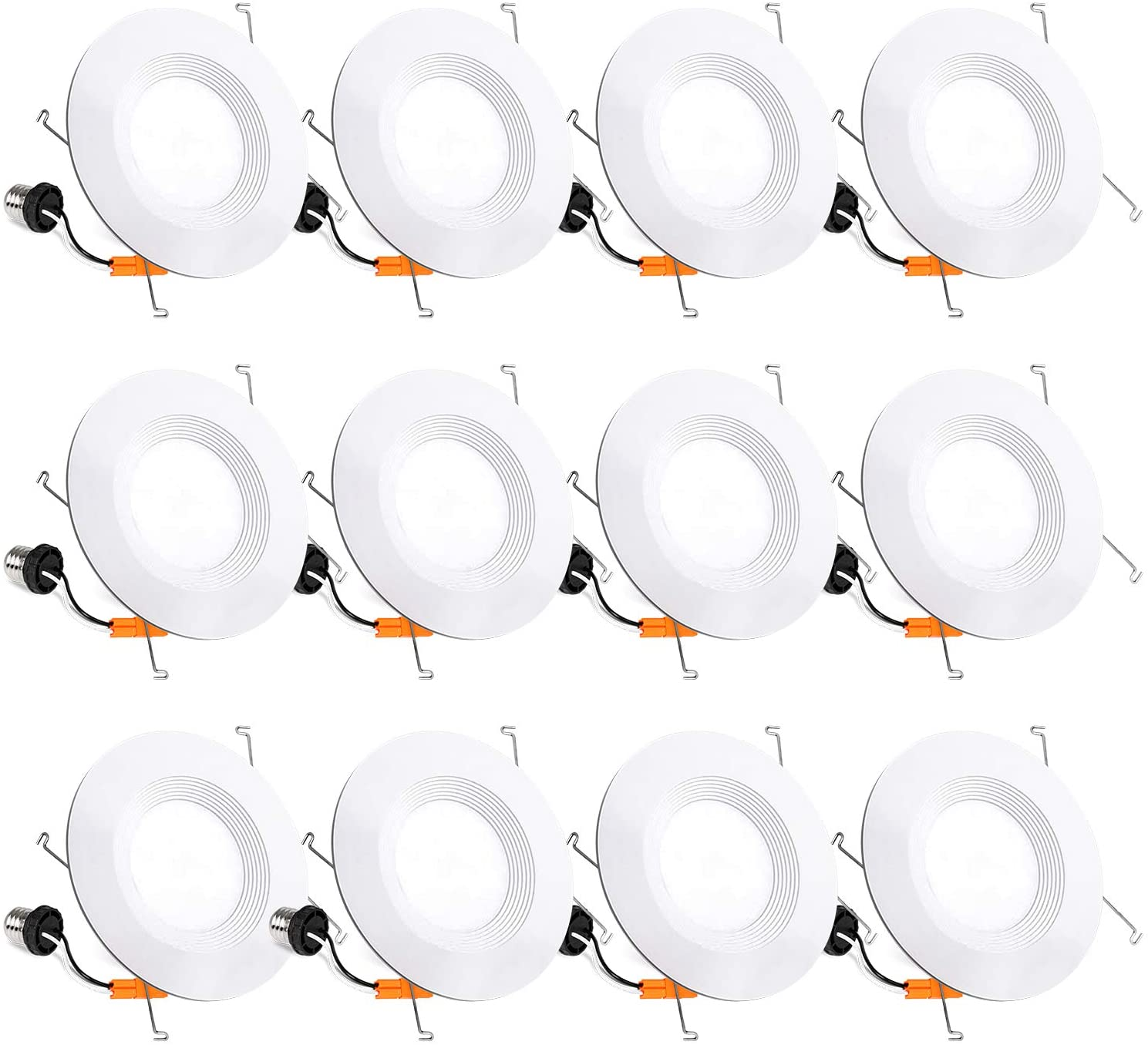 12 Pack 5/6 Inch LED Recessed Lighting, Baffle Trim, CRI90, 15W=100W, 1100lm, 5000K Daylight White, Dimmable Recessed Lighting, Damp Rated LED Recessed Downlight, ETL Listed - -