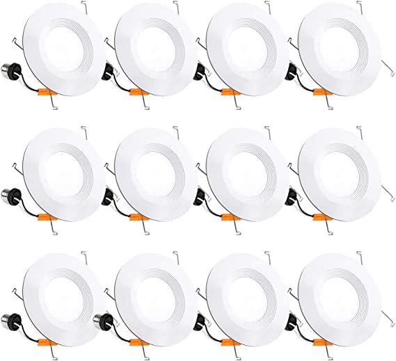 12 Pack 5/6 Inch LED Recessed Lighting, Baffle Trim, CRI90, 15W=100W, 1100lm, 5000K Daylight White, Dimmable Recessed Lighting, Damp Rated LED Recessed Downlight, ETL Listed