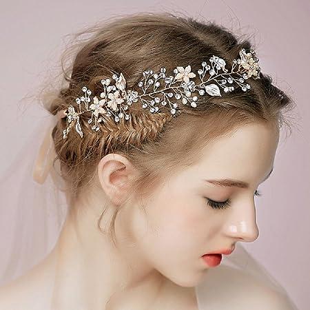 Juyuan 1 Pcs Brautschmuck Vintage Kristall Pearl Vine Haarbander