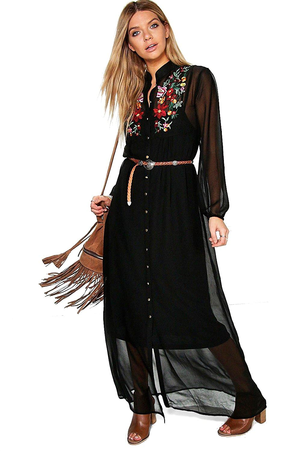 Black Womens Boutique Azra Embroidered Shirt Maxi Dress