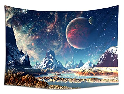 Amazon Com Jacoci Planet With Earth Moon Pattern Wall Tapestry
