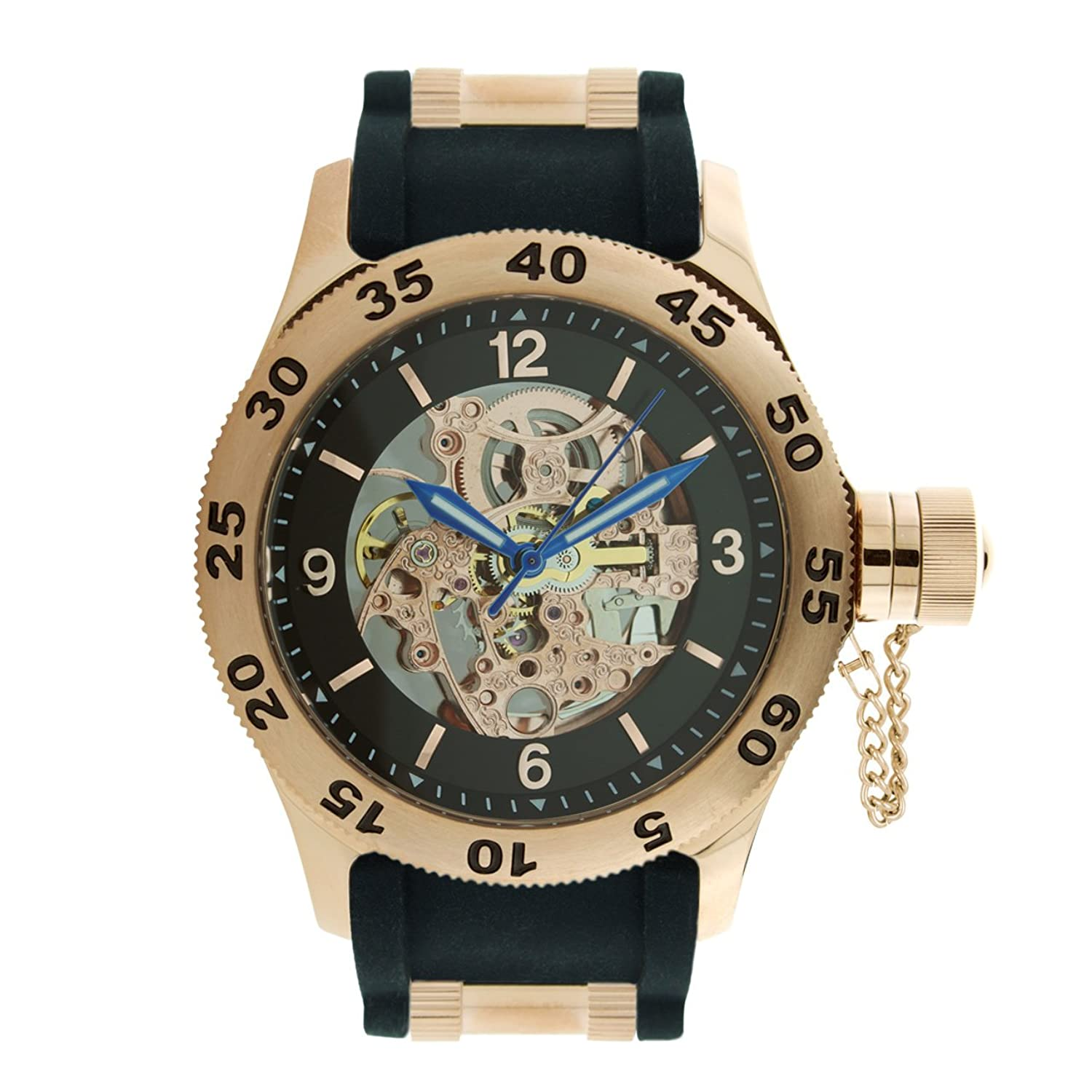 Rougois Rose Gold Automatic Skeleton Naval Diver Watch Black Band