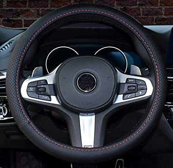 Istn 2018 New Car Steering Wheel Cover Comfort Durability Safety Case Black, 14.5-15