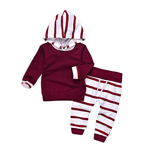 81e534fc1 Amazon.com: AlwaysFun Newborn Baby Girls Boys Long Sleeve Striped Hoodies  Tops Sweatsuit and Stretch Pants Outfits Clothing Set: Clothing