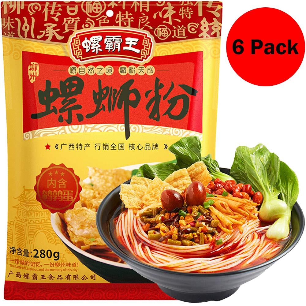 6 Pack Luosi Rice Noodles GUANGXI LIUZHOU SPECIALTY Luo Ba WANG RICE NOODLE 282g 广西柳州螺蛳粉 螺霸王粉丝米线方便面 中国特产美食