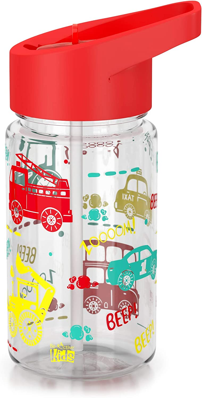 Be-Active sin BPA Botella de agua para ni/ños con paja 400 ml Botellas deportivas para ni/ños botella de agua para ni/ños boquilla abatible