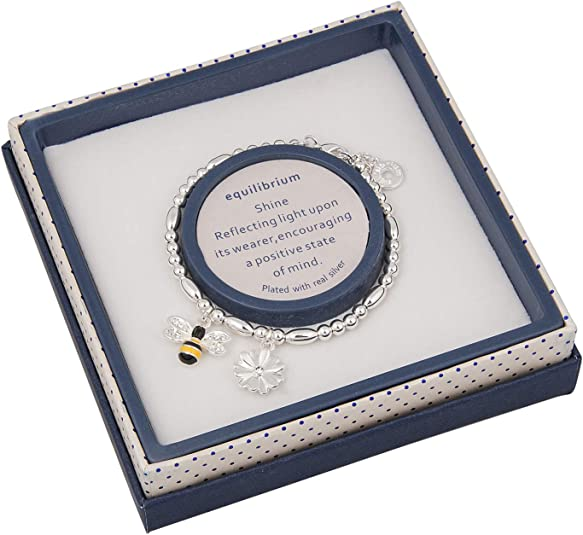 Equilibrium Double Message Beaded Bracelet /'HAPPY BIRTHDAY/' with Bee Charm