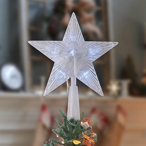 Puntale A Stella Per Albero Di Natale.Led Della Stella Puntale Dell Albero Di Natale Decorazione Frosted