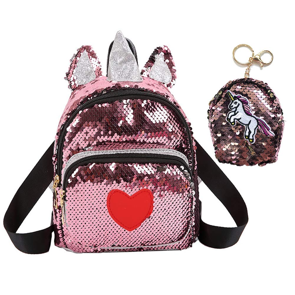 82482f3057cd CCUT Sequin Unicorn Backpack Red Backbag Toddler Kids Backpacks with Cute  Little Sequin Coin Purse Girls Animal Backpacks (Sequin - Red)
