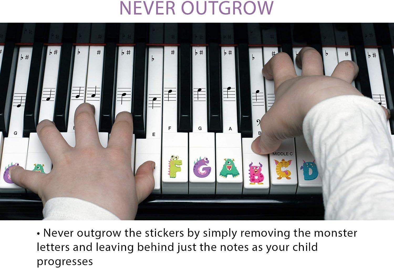 Las pegatinas Monster Piano, para aprender el piano o el teclado. Conjunto transparente de 88, 76, 61 y 49 piezas, con pegatinas de recambio, que se ...