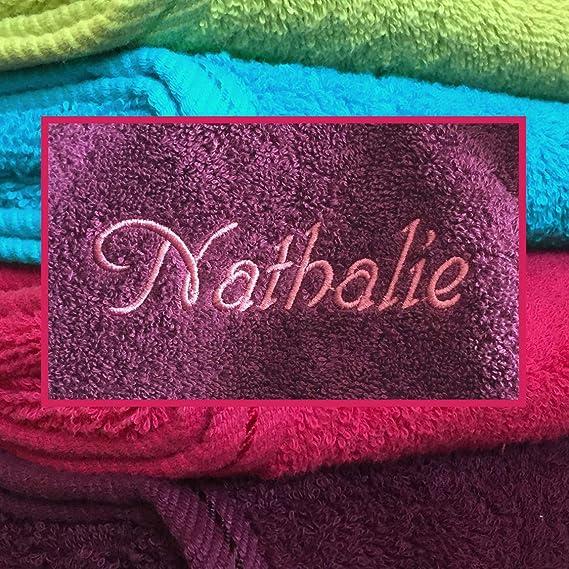 Toalla de ducha con nombres hochwertg bordados, 70 x 140 cm, color morado, Bella 500 g de calidad, 100% algodón, lavable a 60 grados; Comunicación Nombre ...