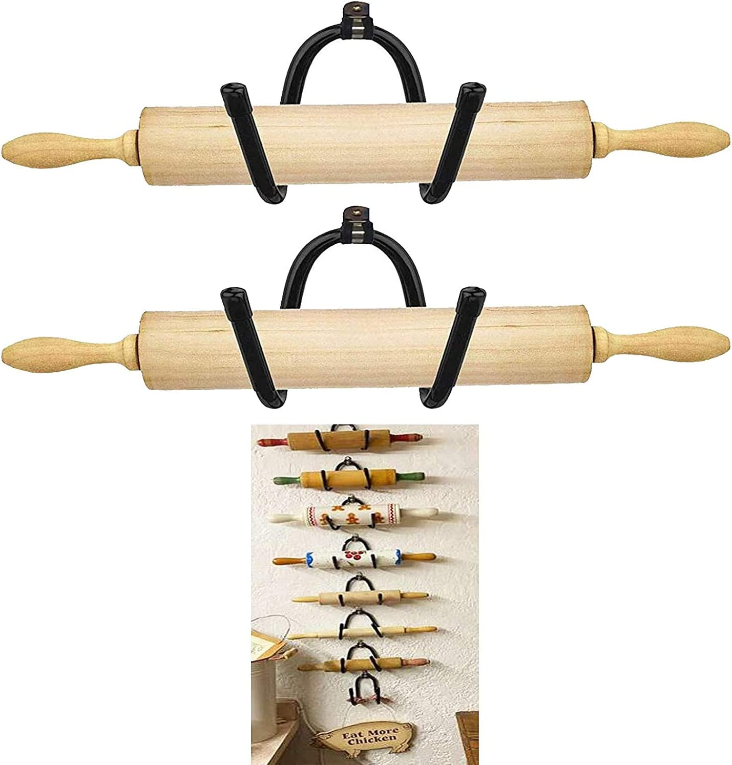 Set of 2 – Rolling Pin Holder Rolling Pin Display Rack Rolling Pin Storage – Wall Hanging Multi Purpose Bottle Rack – Rustic Home Decor Colonial Wall Décor - No Rolling Pin