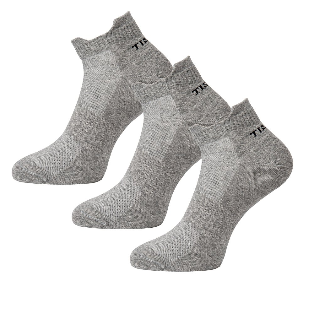 Tisoks 3 Pairs Grey Mens and Womens Titanium Anti Odor Antifungal Sports Ankle Socks Antibacterial for Athletes Feet by Tisoks