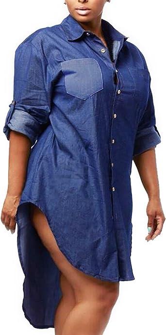 ZANZEA Femme Denim Jeans Manches longues Boutons Casual Tops Hauts Chemises Plus