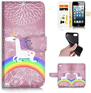 for iPhone 6, iPhone 6S, Designed Flip Wallet Phone Case Cover, A21940 Unicorn Horse Rainbow 21940