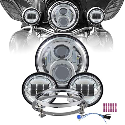 "Atubeix 7inch Led Headlight with 2pcs 4-1/2"" 4.5 inch Passing daylight Motorcycle Led headlight assembly Kit for Touring Road King Street Glide Fat boy with Mounting Ring 7inch (Headlight kits Chrome): Automotive"