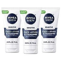 NIVEA Men Sensitive Protective Lotion - Moisturize With Broad Spectrum SPF 15 - 2.5 fl. oz. Bottle (Pack of 3)