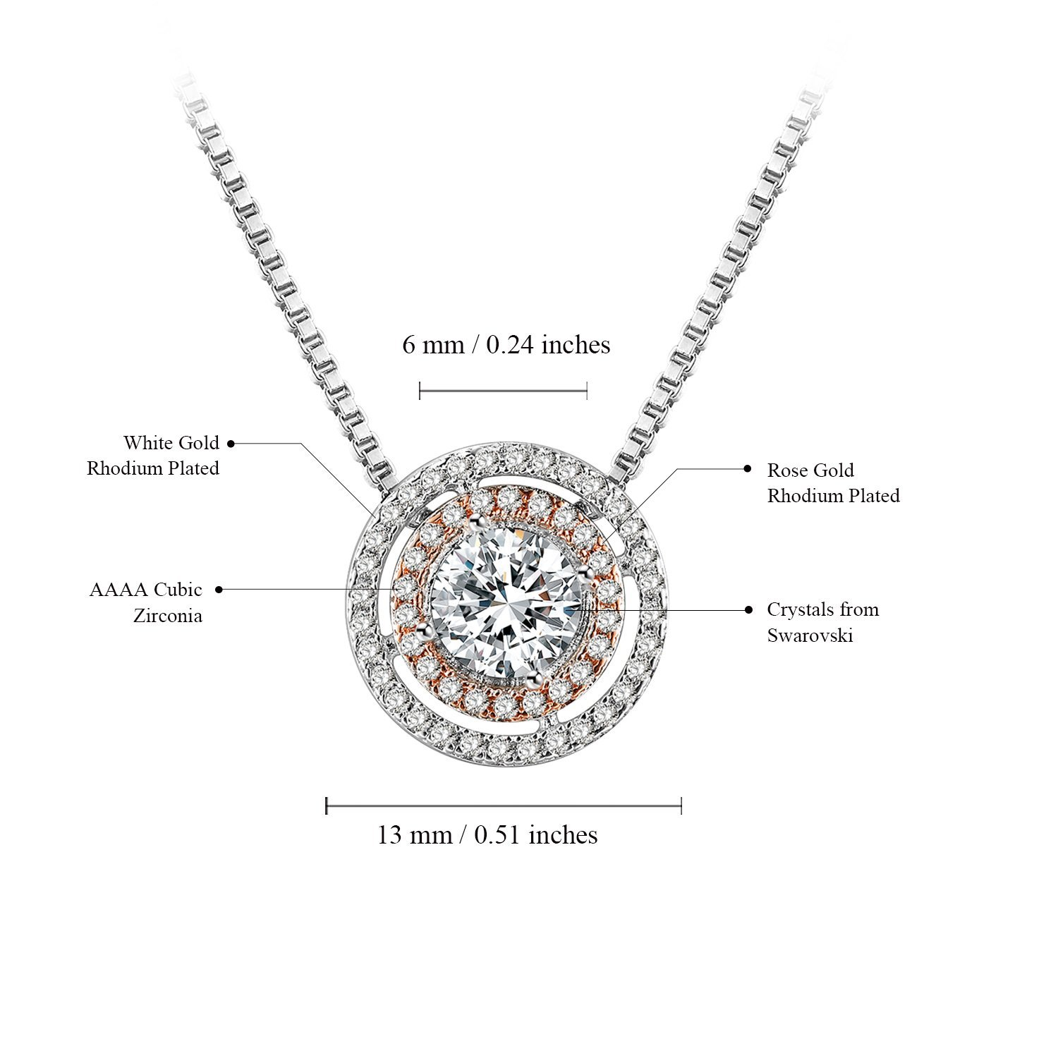 27c5c447a THEHORAE Jewelry Set Rose White Gold CZ Pendant Square Necklace Stud  Earrings Sets for Christmas Day