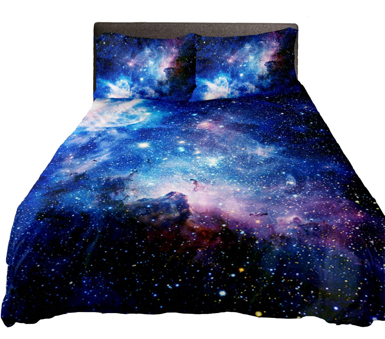 Anlye Galaxy Duvet Cover Queen Size 3D Print Purple Space Sheet Queen Size Purple Nebula Never Fade Queen Size Outer Space Bedding Set(3PCS)
