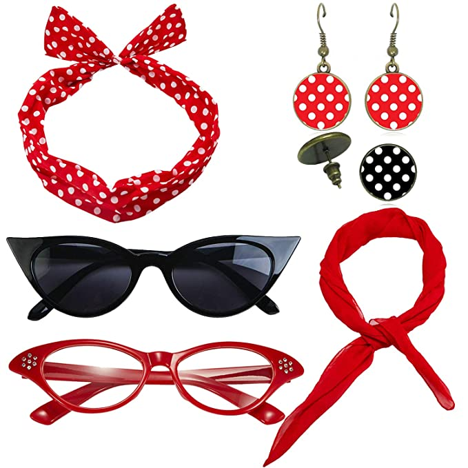Vintage Style Jewelry, Retro Jewelry 1950s Womens Costume Accessories - 50s Chiffon ScarfCat Eye GlassesBandana Tie HeadbandDrop Dot Earrings $14.99 AT vintagedancer.com
