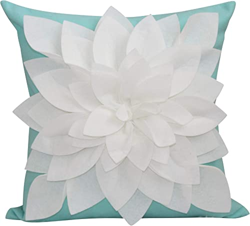 Flower Pillow – Decorative Throw Pillow 17 Square Flower Pillows 3D Effect with Dual Colors Soft Comfortable Fabric Elegant Handmade Perfect for Home Mint Ivory, Case Insert