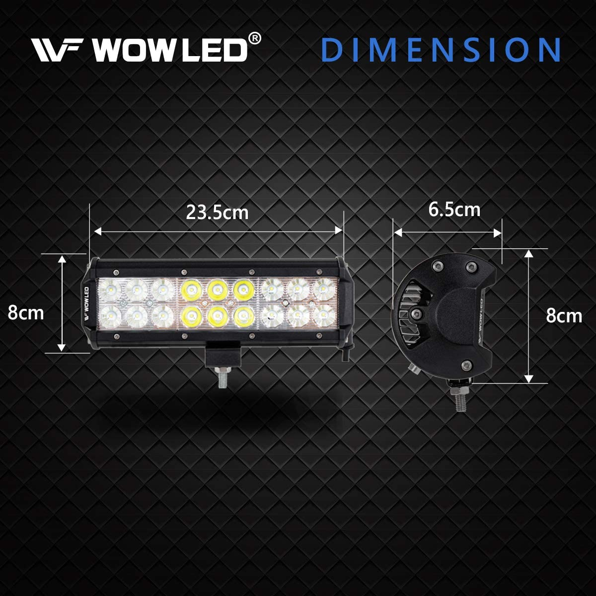 2x 5 Inch 36W 10800Lumens Two Rows Upgrade Off Road Lights Light Bar IP67 Offroad Driving Lamp Bar for Car Truck UTE 4x4 12V 24V WOWLED LED Work Light Bars