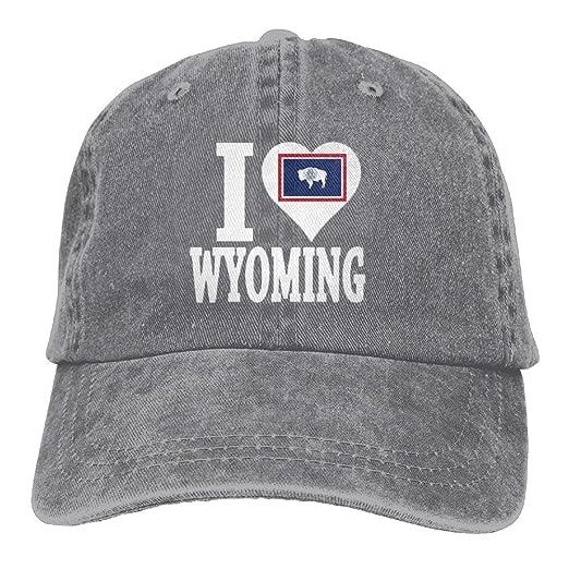 UYILP I Love Wyoming Unisex Adjustable Baseball Caps Denim