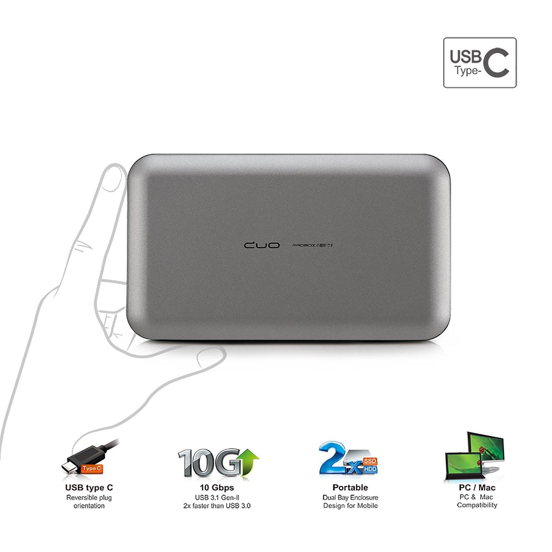 "Mediasonic ProRaid USB-C 2 Bay 2.5"" SATA SSD / Hard Drive Enclosure – USB 3.1 Gen-II 10Gbps Speed / USB Type C (HUR6-SU31C Grey)"