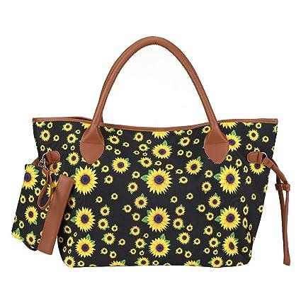 Amazon.com: Bolso de girasol para mujer, lona, bolso de mano ...