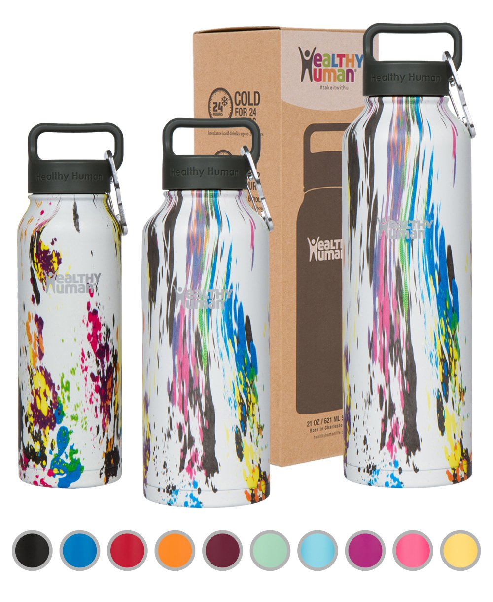Healthy Human Stainless Steel Vacuum Insulated Water Bottle | Keeps Cold 24 Hours, Hot 12 Hours | Double Walled Water Bottle 32 oz, 40 oz, 21 oz, 16 oz | Carabiner and Hydro Guide