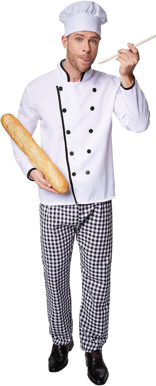 dressforfun Disfraz de Cocinero Famoso para Hombre   Chaqueta de Chef Bien trabajada   Pantalones de Cuadros a Juego   Incl. Gorro de Cocinero (XXL   no. 301542)