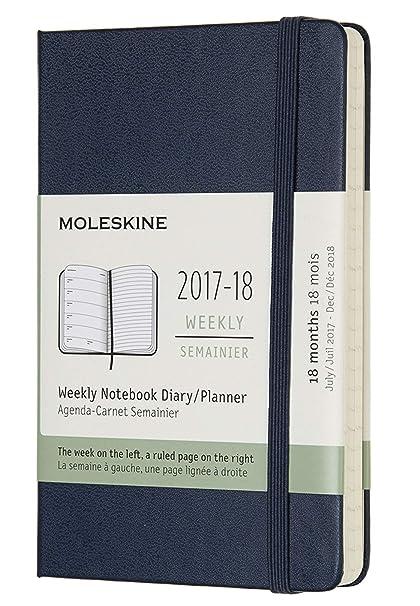 Moleskine DHB2018WN2Y18 - Agenda semanal 2017-2018, de bolsillo, 18 meses, tapa dura, color azul zafiro