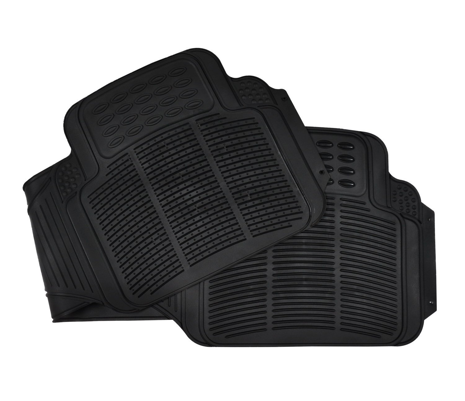 Rubber Floor Mats 3PC Set Floor Front Rear Rubber Mats All Weather Protection Universal Car Truck Suv Black