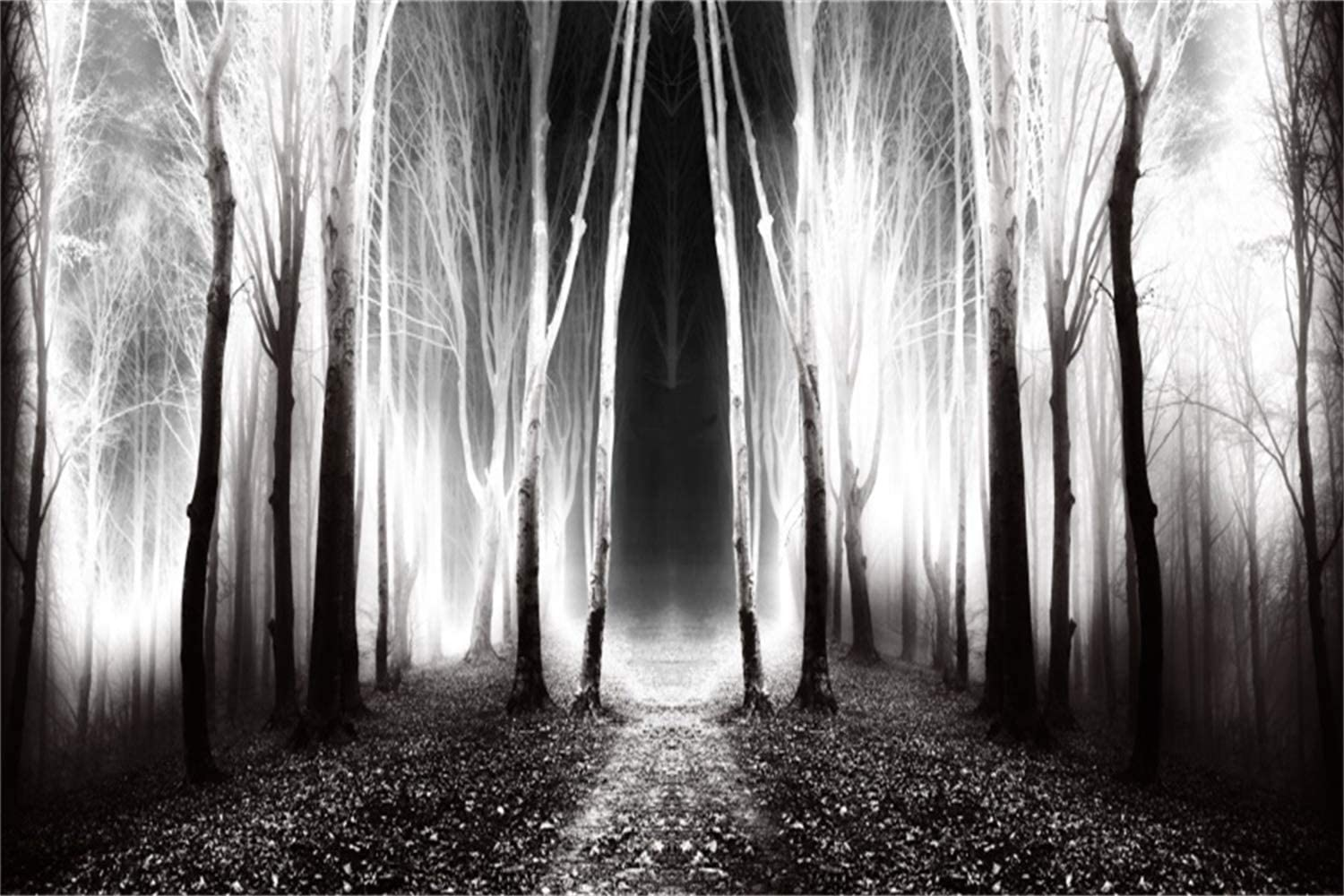 Laeacco 7x5ft Halloween Theme Backdrop Vinyl Foggy Ghastly Cemetery Deserted Haunted Villa Gloomy Cloudy Sky Decayed Trees Photography Backgroud Child Baby Portrait Shoot Trick Or Treat Party Banner