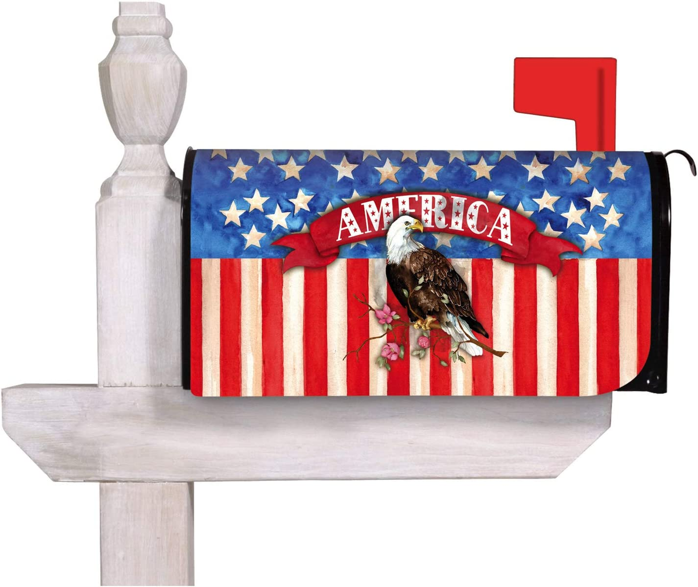 Evergreen Flag Beautiful God Bless America Eagle Mailbox Cover - 18 x 1 x 21 Inches Fade and Weather Resistant Outdoor Decoration for Homes, Yards and Gardens