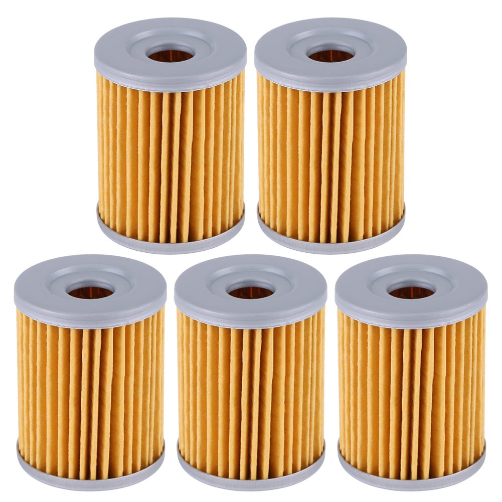 Qiilu Motorcycle Engine Fuel Oil Filter for Suzuki DRZ125 DR200SE RV125 LTZ250 LTF250 Ozark AN250(Pack of 5)