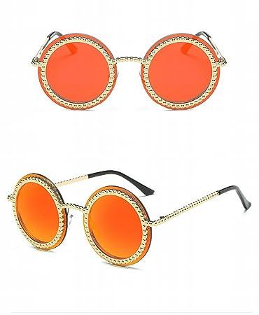 Gothic Unisex Punk Dampf 2-Layer Flip Retro Sonnenbrille Sonnenbrille Goldrahmen Orange Rote Linse kBiRmE