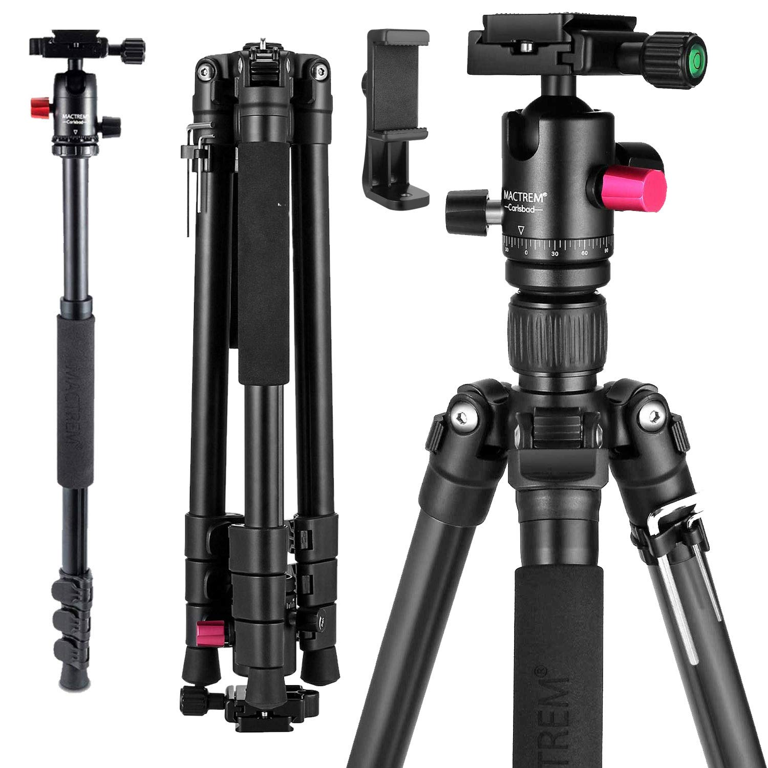 MACTREM Professional Camera Tripod with Phone Mount, 62