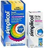 simplicol 1503 Textil Echtfarbe flüssig + 500 g Färbesalz, Maisgelb