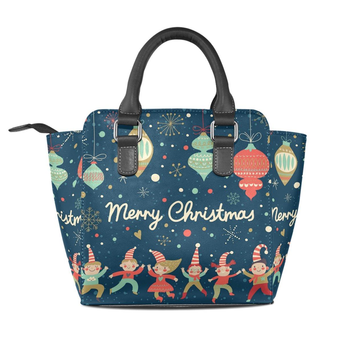 BENNIGIRY Womens Santa Claus Beard Merry Christmas Top-Handle Handbags Shoulder Bag With Removable Shoulder Strap