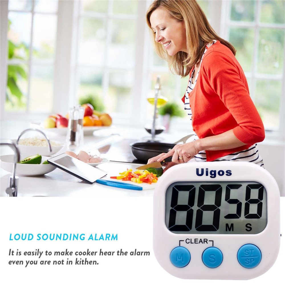 Big Digits White Stand Loud Alarm Magnetic Backing Uigos 2 Pack Digital Kitchen Timer II 2.0 for Cooking Baking Sports Games Office 2 Pack