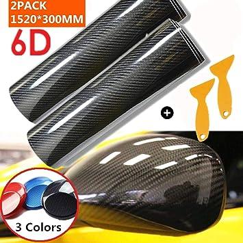 Mioke 2PCS 6D Carbon Fibre Vinyl Adhesive Wrap for Car,Super High Glossy,1520 x 200mm//300mm,Paint Protection Film for Interior//Exterior blue, 20cm - 6D