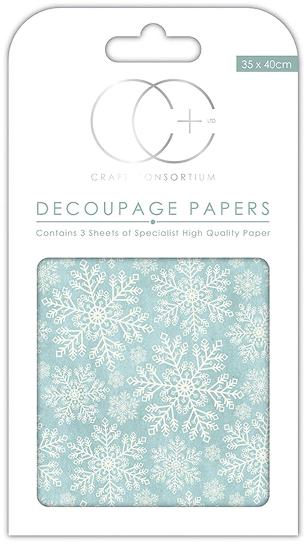 Craft Consortium Blue Snowflakes Decoupage Papers (3/Pack), 13.75 x 15.75 13.75 x 15.75 CCXDECP004