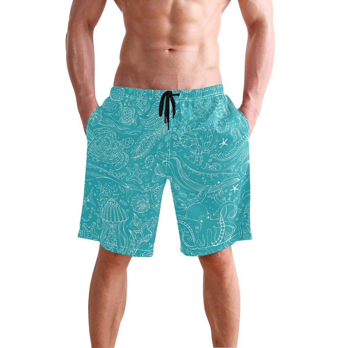 Sea Animal Pattern Mens Beach Shorts Swim Trunks Stripe Quick Dry Casual Polyester Swim Shorts
